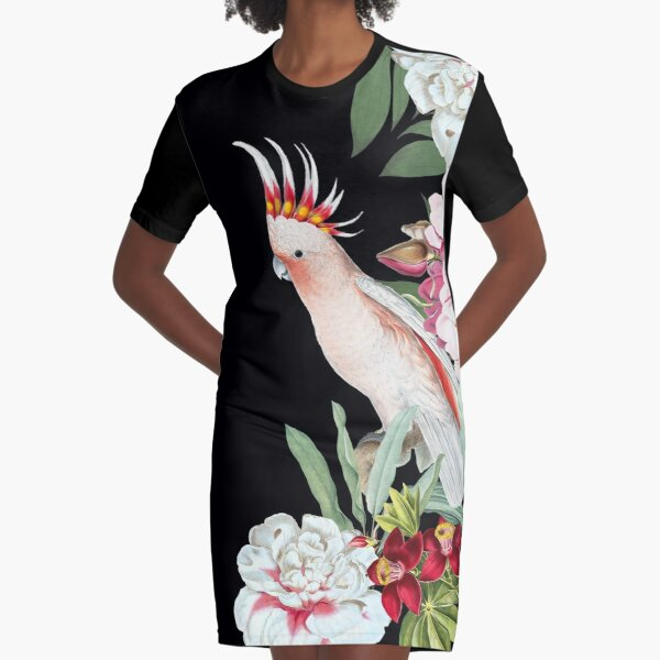 Pink cockatoo in floral jungle Graphic T-Shirt Dress