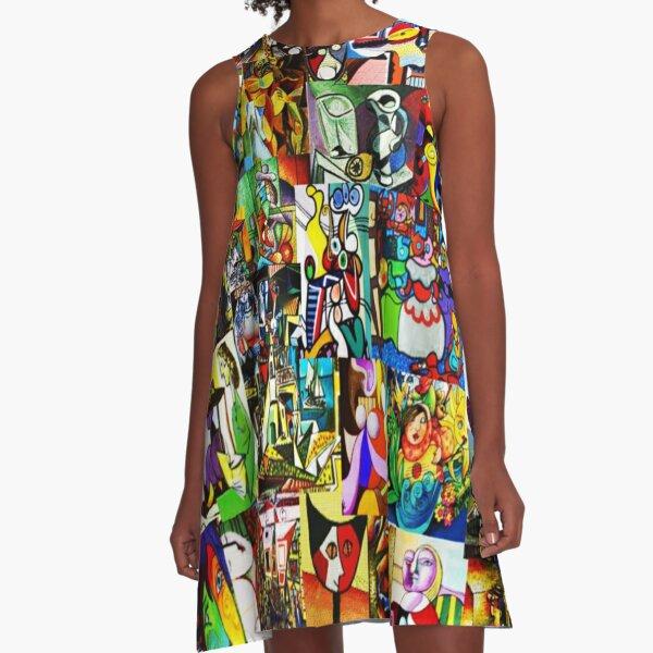Picasso Retrospective Collage A-Line Dress
