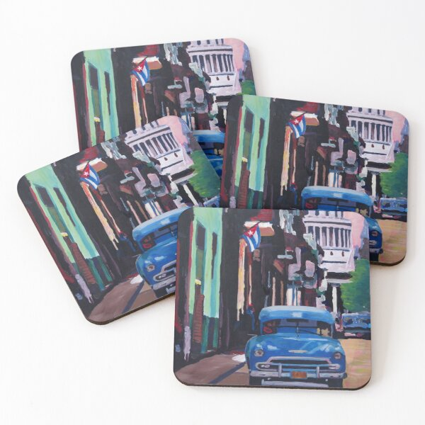 Cuban Oldtimer Street Scene in Havana Cuba with Buena Vista Feeling Coasters (Set of 4)