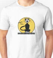 Retro Halloween Howling Cartoon Cat with Orange Moon Unisex T-Shirt