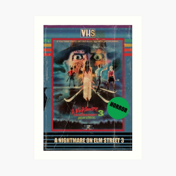 Nightmare on Elm Street 3 Dream Warriors VHS 80s Horror Poster Art Print