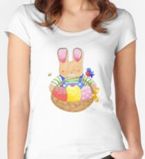 little bunny with his basket Women's Fitted Scoop T-Shirt