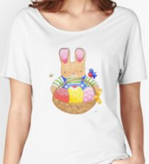 little bunny with his basket Women's Relaxed Fit T-Shirt