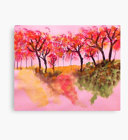 Casual Fall Trees on a Hill in watercolor Canvas Print