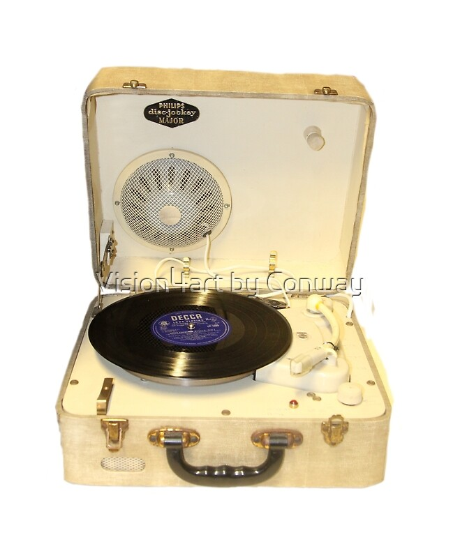 """Vintage 1950s Record Player With Vinyl Record"" Greeting"