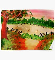 Old Pasture with Broken Fence, Tree, in watercolor Poster