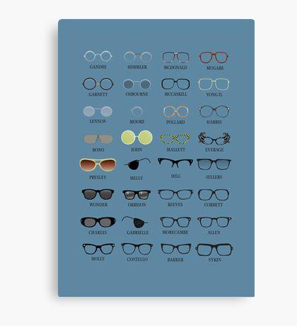 Glasses - Blue Background Canvas Print