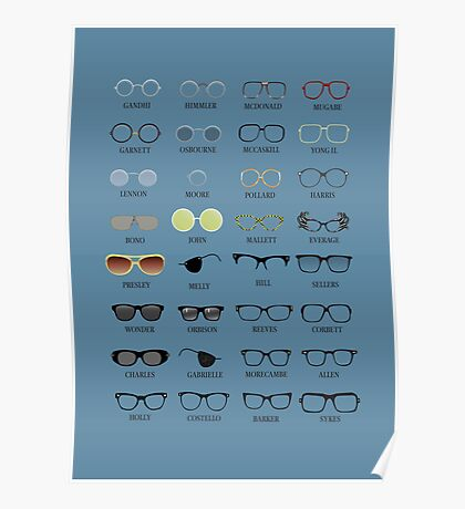 Glasses - Blue Background Poster