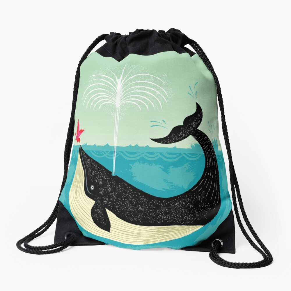 The Bird and The Whale Drawstring Bag