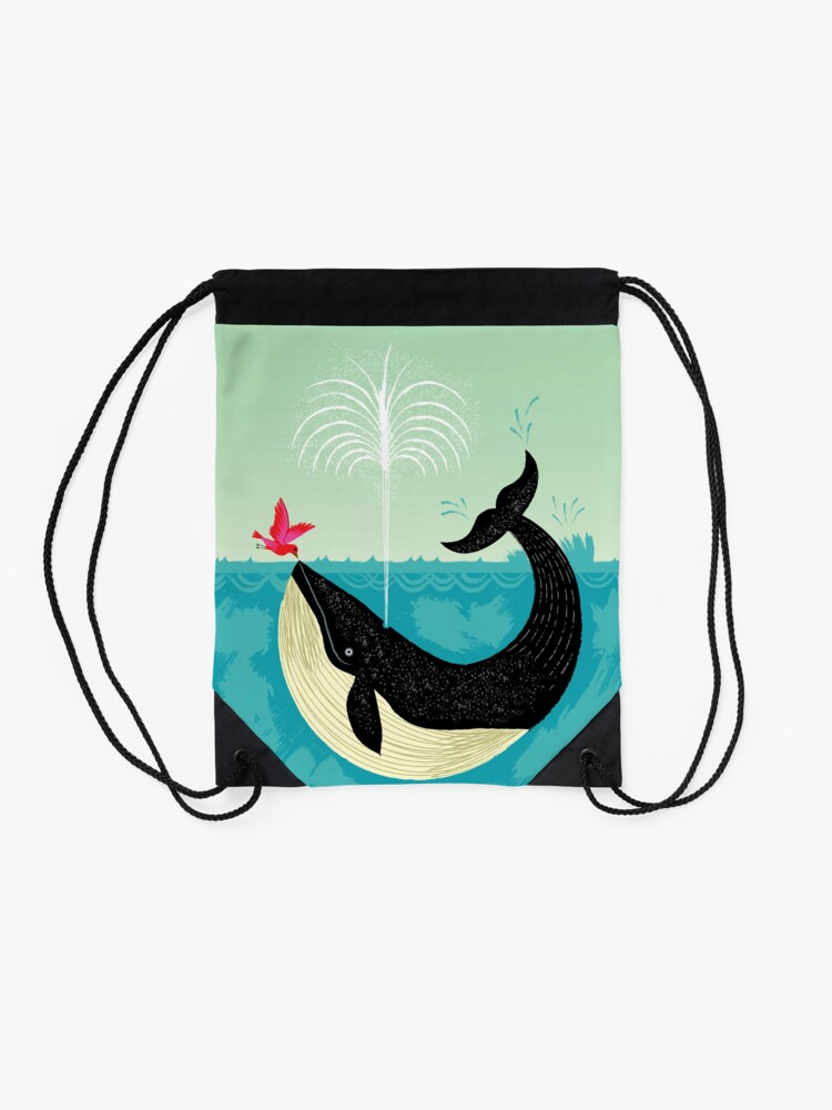 Alternate view of The Bird and The Whale Drawstring Bag
