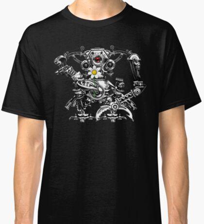 Cyberpunk Vintage Robot with Flower Steampunk T-Shirts Classic T-Shirt