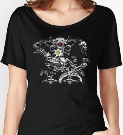 Cyberpunk Vintage Robot with Flower Steampunk T-Shirts Women's Relaxed Fit T-Shirt