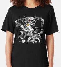 Cyberpunk Vintage Robot with Flower Steampunk T-Shirts Slim Fit T-Shirt