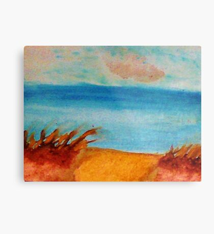 Down by the Shore on the Path, watercolor Metal Print