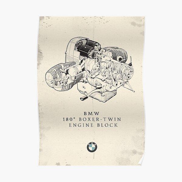 Boxer-twin engine, dessin technique, vieille moto, affiche de garage vintage, moto allemande, mécanicien rétro Poster