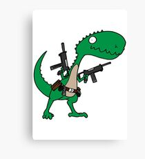 Dino with Guns Canvas Print