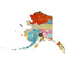 Alaska Love - Bright and Colorful Collage Quilt State Map Art by traciwithani