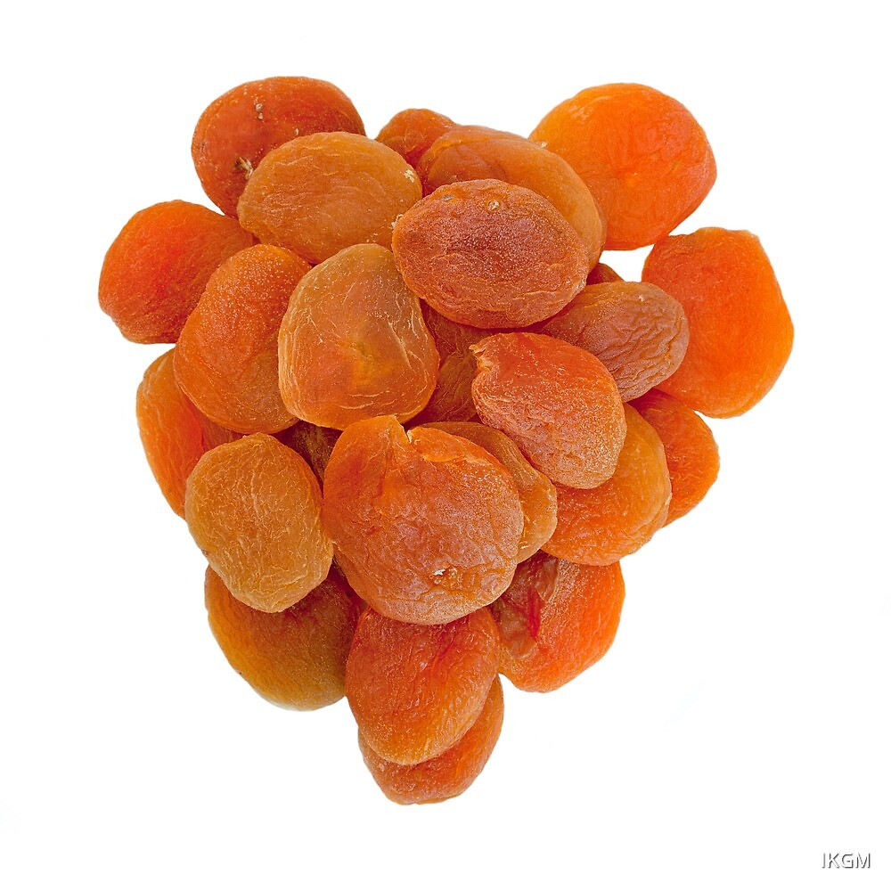 Dried apricots on a white background by IKGM