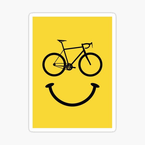 Bicycle Smiley Face Sticker