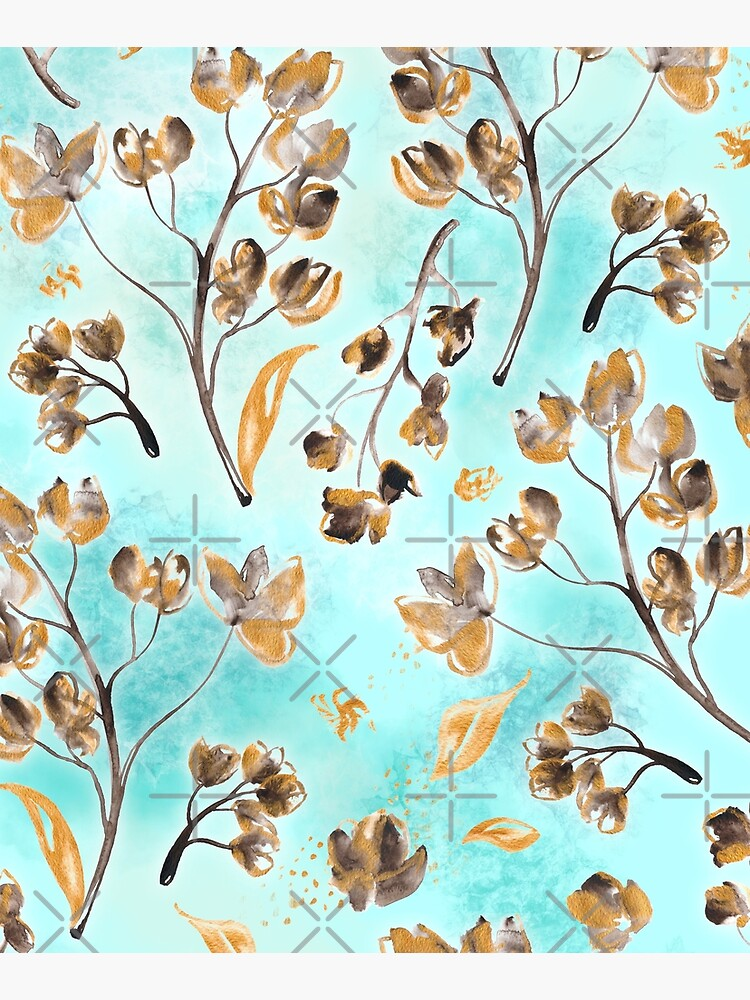 Hand-painted watercolor loose floral chintz in gold, blue, brown and turquoise as a seamless surface pattern design by nobelbunt