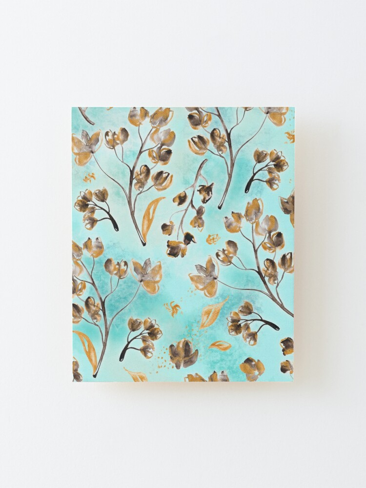 Alternate view of Hand-painted watercolor loose floral chintz in gold, blue, brown and turquoise as a seamless surface pattern design Mounted Print