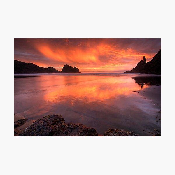 Piha Turns Orange Photographic Print