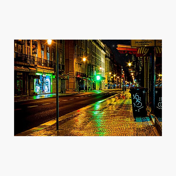 Lisbon street at night Photographic Print