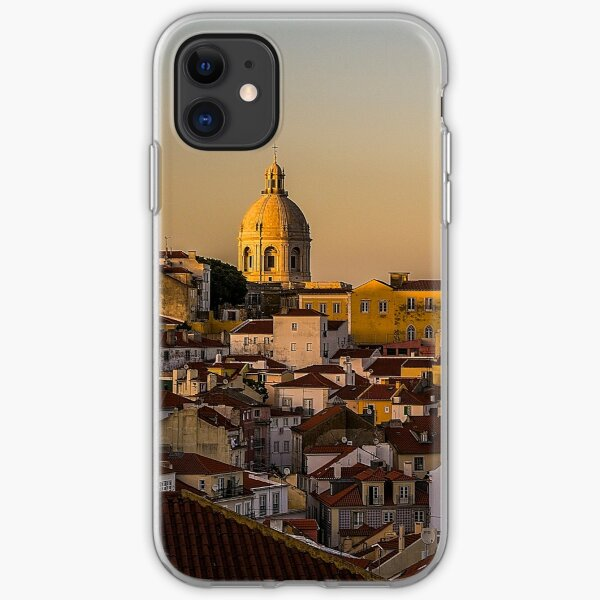 Amazing sunset in Alfama district of Lisbon iPhone Soft Case