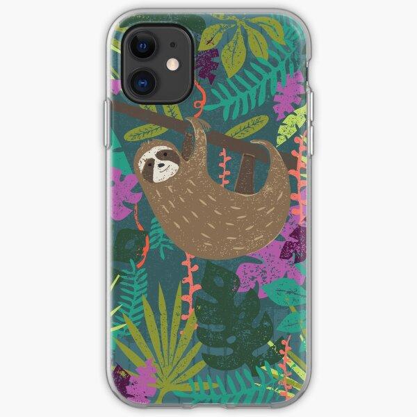Take it Easy - sloth jungle print iPhone Soft Case