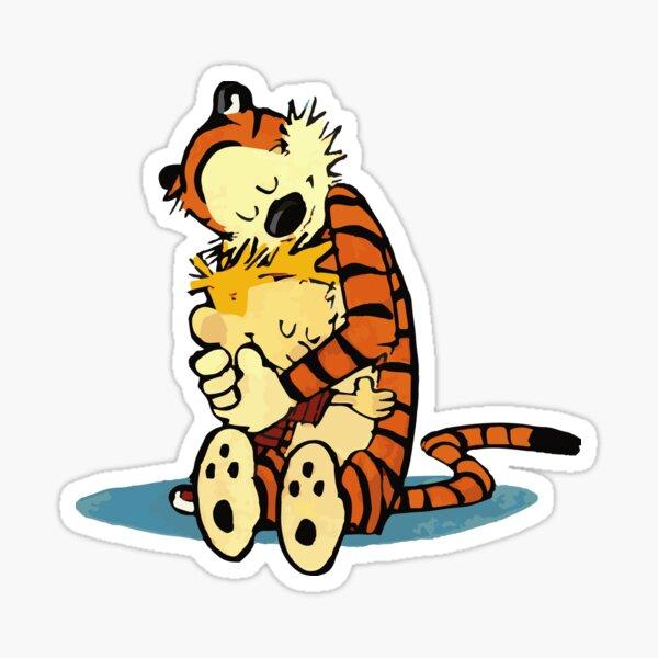 A Best Friends Hug, Cute Hobbes Artwork, Tshirts, Art Posters, Prints, Bags, Men, Women, Youth, Kids Sticker