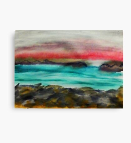 Big Rocks on shore, watercolor Canvas Print