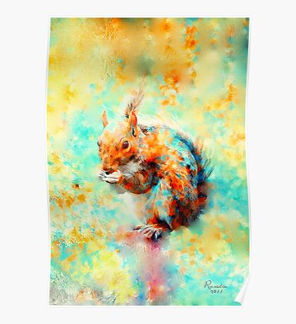 Squirrel at Breakfast Poster