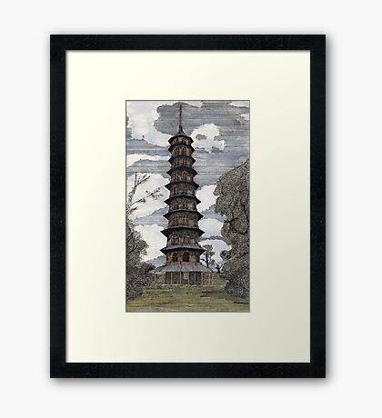 44 - THE PAGODA - KEW GARDENS - WATERCOLOUR & INK - DAVE EDWARDS - 1986 Framed Print