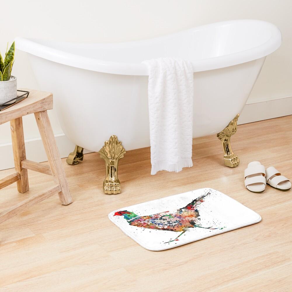 Pheasant, watercolor Pheasant Bath Mat