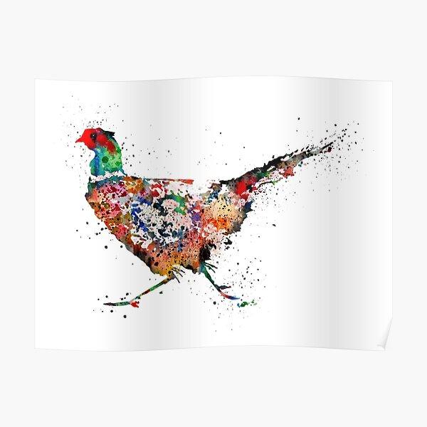 Pheasant, watercolor Pheasant Poster