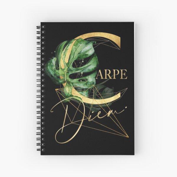 Carpe Diem – Inspiring quote in gold. Spiral Notebook