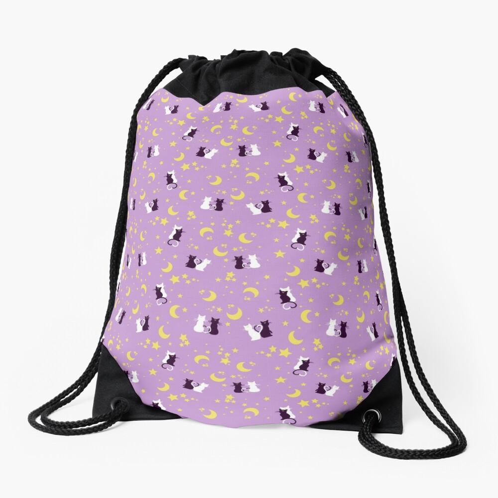 MOON KITTIES LAVENDER Drawstring Bag