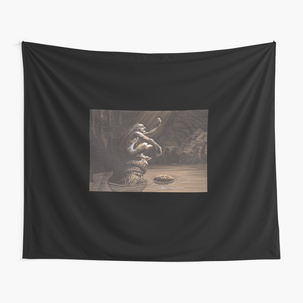 Gollum in his cave Wall Tapestry