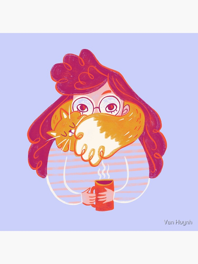Cozy Girl in Sweater with Cat and Hot Tea by vankhuynhart