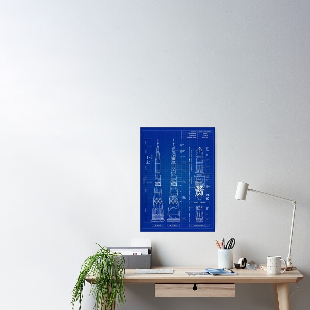 N1 / L3 Crewed Lunar Expedition (Blueprint) -English Vertical Poster