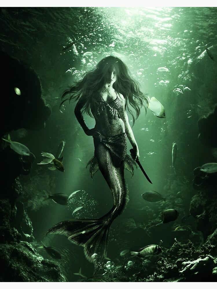 Drawing of siren under water by liesjes