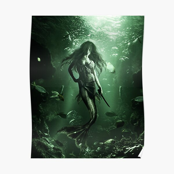 Drawing of siren under water Poster
