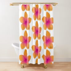 Orange Pink Plumeria Shower Curtain