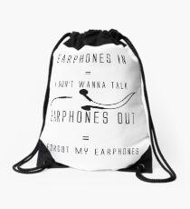 Funny Music Earphones Quote Drawstring Bag