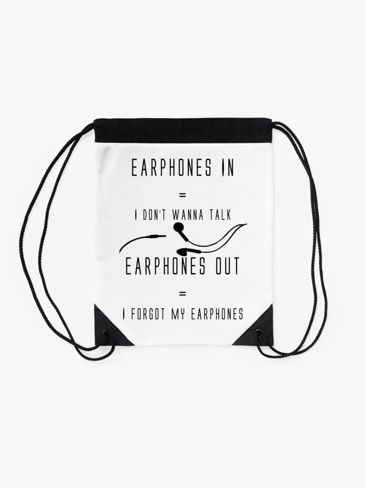 Alternate view of Funny Music Earphones Quote Drawstring Bag