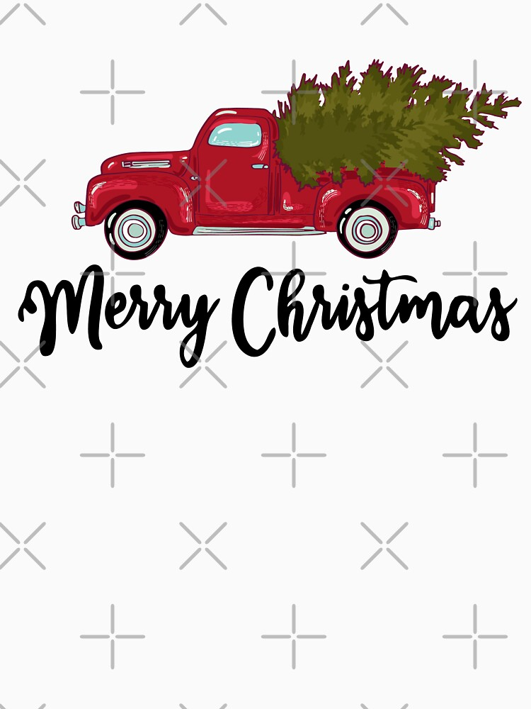 Merry Christmas - Chrismas Vintage Red Truck With A Tree Wagon by BRVART