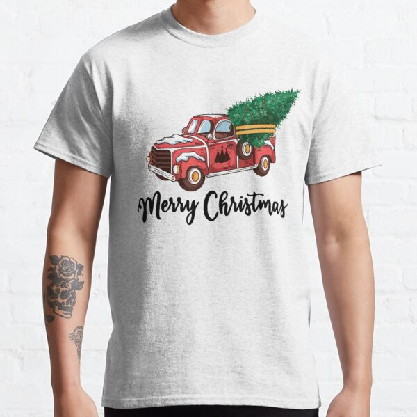 Merry Christmas - Chrismas Vintage Red Truck With A Tree Wagon Classic T-Shirt