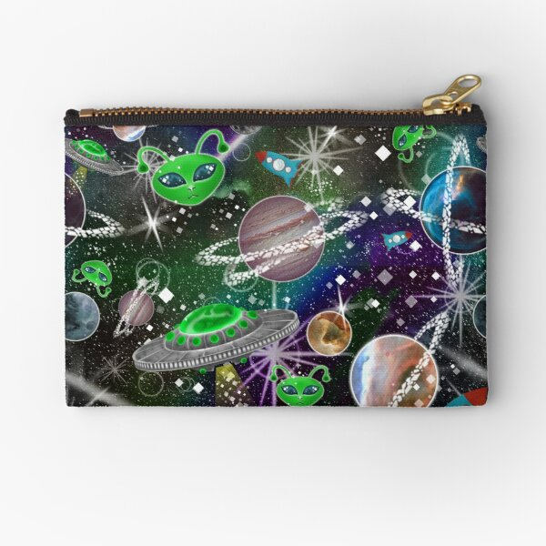 Aliens Spaceships and Planets, oh my! Fun Outer space tiling pattern illustration  Zipper Pouch