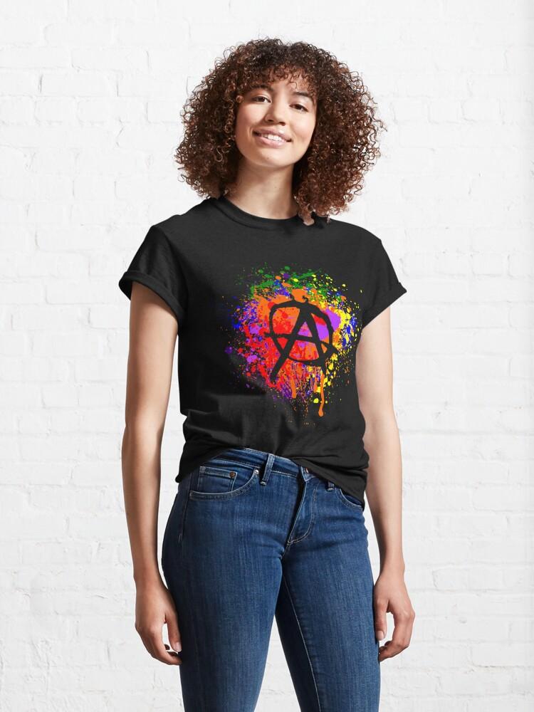 Alternate view of Anarchy Paint Splatter Classic T-Shirt