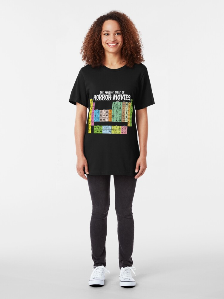 Alternate view of Periodic Table of Horror Movies Slim Fit T-Shirt